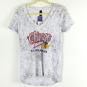 ADIDAS CHICAGO BLACKHAWKS SMALL V NECK TOP , NWT